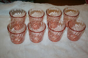 Rose coloured Juice Glasses