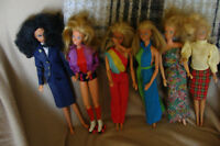 barbies, clothes and barbie lunchbox