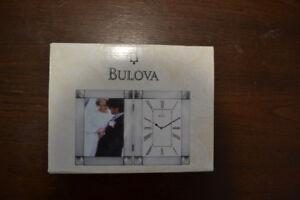 Bulova Silver Picture Frame Clock 5 x 7