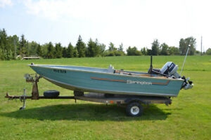 14 foot Springbok aluminum boat, motor and trailer