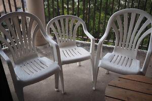 Three White Plastic Garden/Patio Outdoor Chairs