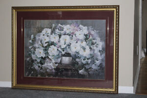 picture glass/gold framed flower print West Island Greater Montréal image 1