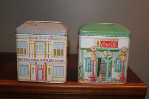 pair of Coca-Cola tins - shape of storefronts