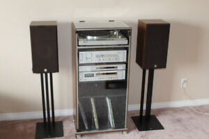 Classic vintage design stereo stand with LP/vinyl storage