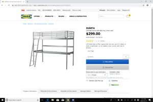 brand new IKEA loft bed frame with desk top