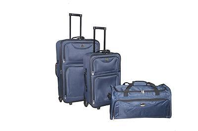 New 3PC Navy Blue Luggage Travel Bag Trolley Suitcase Carrier 25