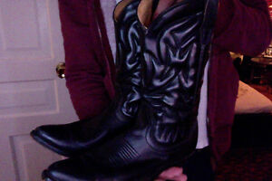 Mens Black Leather Cowboy Boots