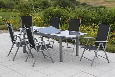 Merxx Gartenmöbel-Set Amalfi 7-teilig, Ausziehtisch 140 (200) x 90 cm schwarz