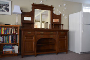 Oak sideboard, hutch. Imported from England, hand-cut dovetails.