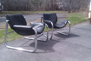 Mid Century Leather and Chrome Lounge Chairs