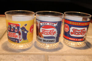 3 PEPSI plastic highball glasses by ARBY's - 1990's