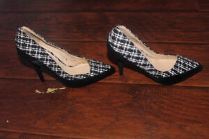 New Black and White Heels, Size 8.5