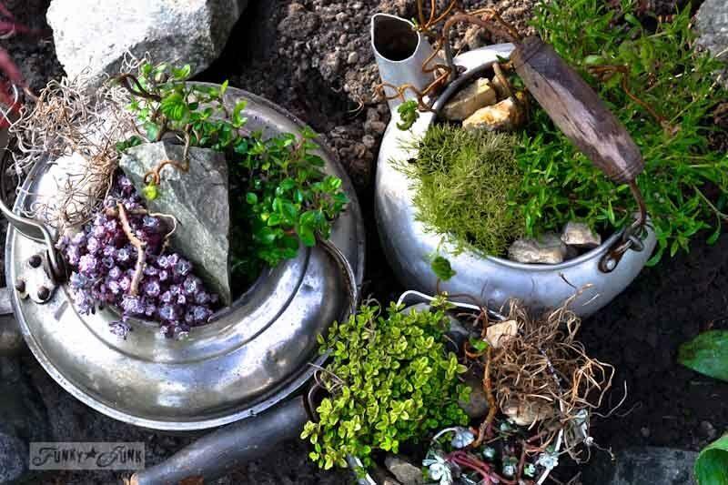 6. Old kettle rock garden / 10 garden junk art ideas to jazz up your yard! By Funky Junk Interiors for ebay.com