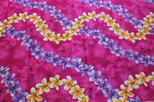 Tropical fabric -6 yards pink with pink, purple & yellow flowers