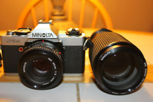 Minolta XG-A 35mm Film Camera with 2 Lenses