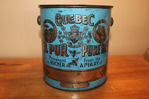 Old Antique Large Blue Quebec Honey Tin London Ontario image 2