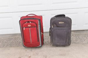 Ten suitcases for sale assorted sizes.