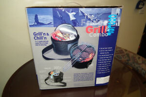 The Grill and Cooler Combo Portable Grill and Beverage Cooler