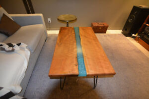 Handmade Live Edge Cherry Expoy River Table With Hairpin Legs