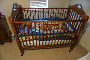 Solid wood baby crib - includes mattress