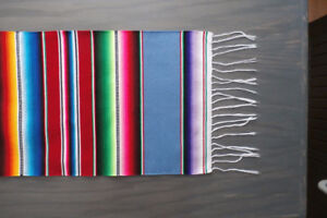 """Authentic Mexican Serape Blanket Table Runner 63""""x12 1/2"""" (150x3"""