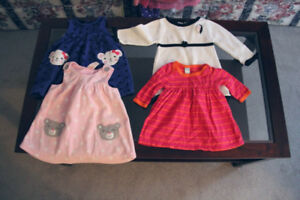 girl's dresses, size 0 to 6 mos