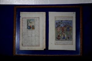 Antique Glass Framed Double Pages of Early Persian Miniature Art