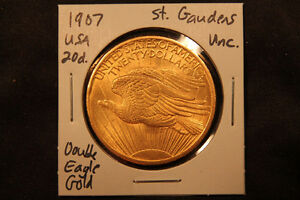 1907 United States solid Gold Double Eagle St. Gaudens $20 Coin