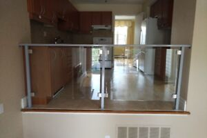 Glass Railing - Steel Frame, Brushed Metal Brackets,  91(l) x 36