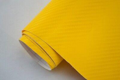 15€/m² 4D Carbon Folie - gelb -  30 x 152 cm flexibel Blasenfrei Auto Folie