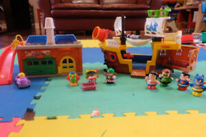 Lot Little People Fisher Price: pirates, garage, super-héros