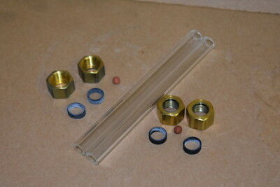 Sight Glass Kit Liquid Level 12od 6 Indicator Ball Borosilicate Lot Of 2