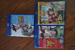 Toy Story 1, 2, and 3 blu ray movies