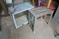 2 small metal carts/tables  on wheels - MOVING SALE