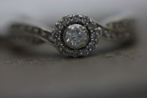 **SAY YES** 10KT White Gold Halo Style Engagement Ring (#15475)