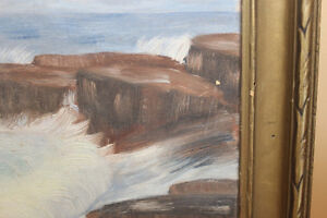 Vintage Painting of Waves Crashing Against the Shore London Ontario image 5