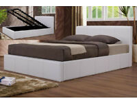 Double, Black, white leather bed, storage, new, ottoman, lift up bed, memory reversible mattress.