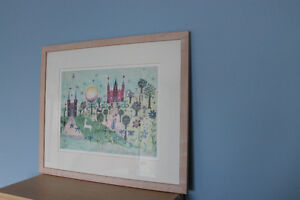 Framed Watercolour print -- Princess, castles, unicorn Kitchener / Waterloo Kitchener Area image 3