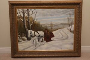 Painting of man in sleigh with horse