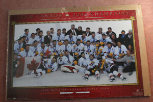 2002 Men's Canadian Hockey team poster and plaque