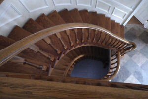 Stair Case - Classic Residential Curved Oak Staircase, High End