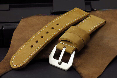 Buffalo Suede Leather Golden Light Brown 24mm Panerai Watch Band Strap+Buckle Suede Leather Buffalo