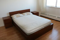 Bed, mattress, drawer chest and side board