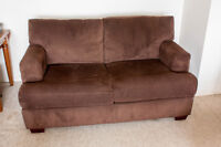 Brown micro-fibre love-seat. Almost brand new.