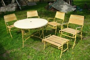 Mid Century Hollywood Regency Bamboo Patio Table & Chair Set