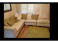 Beautiful washable cream L shape sofa real wood - accept offers