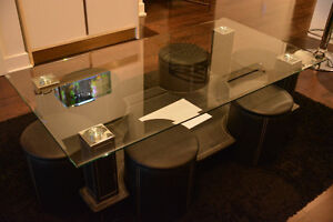 Glass Coffee Table (Chromed/Leather)