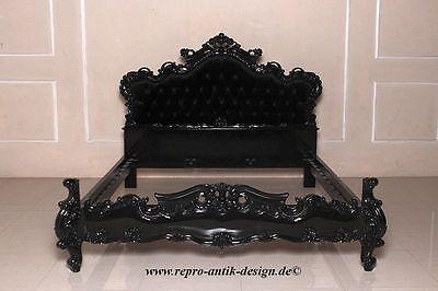 Barock Bett Antik Massiv Prunk Ehe Doppelbett schwarz Samt 180x200 Stil Landhaus