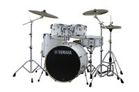 Sleek Yamaha YD Series White Drum Kit w Cymbals
