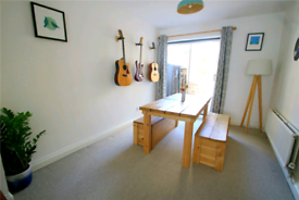 Oak top dining table and 2 matching oak top storage benches